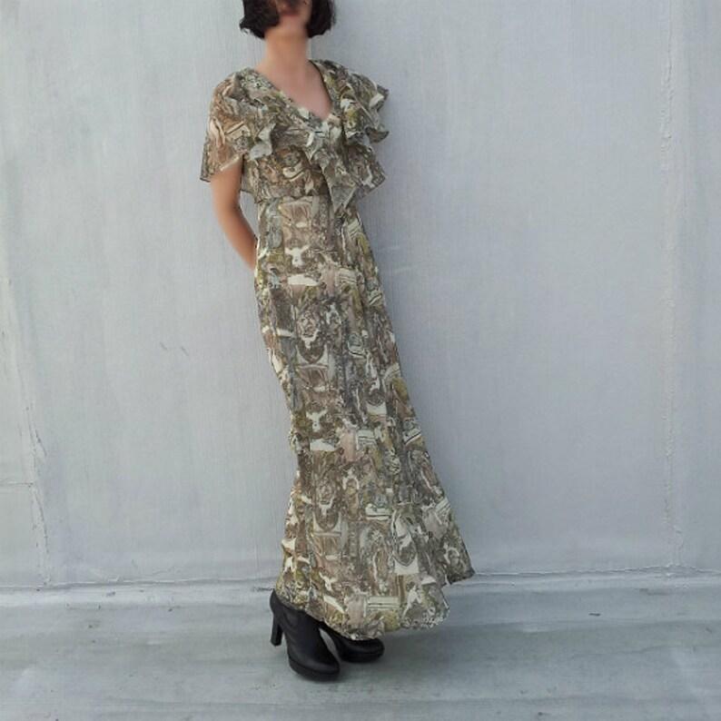 30b2d0ef677e9 Prom Dress 70s Vintage Art Nouveau Poster Boho Chic Maxi Dress | Etsy