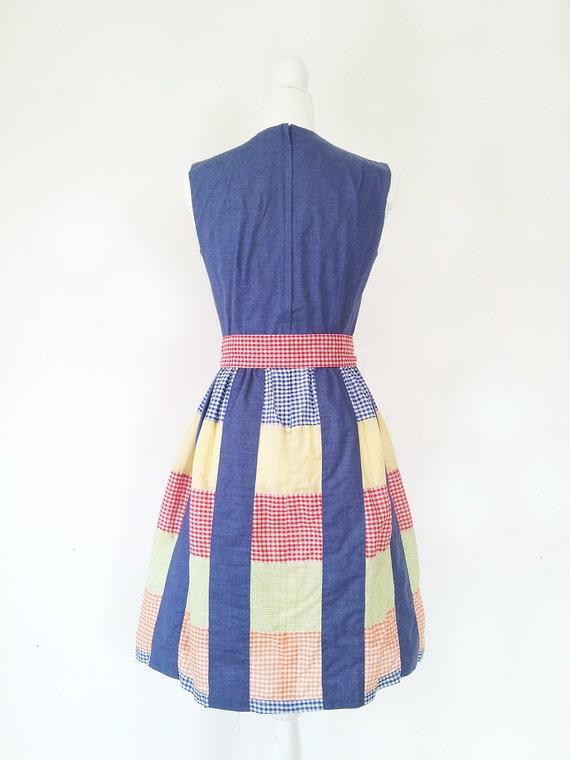 Vintage Patchwork Dress Vintage Gingham Dress 196… - image 4