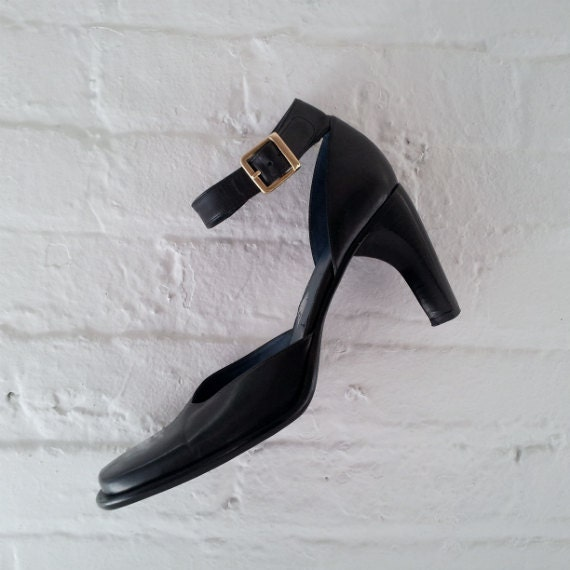 Black Mary Janes Chunky Retro Mary Janes Black Suede Gabor Oxfords Black Leather Square Toes Mary Jane Pumps size 38 , UK4.5. USA 5,5