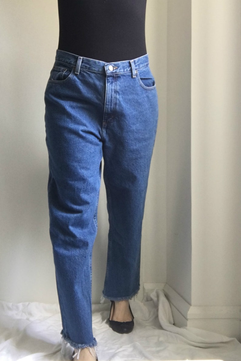 84afac69de High Waisted Jeans 90s Vintage Straight Jeans 14 Large Eddie