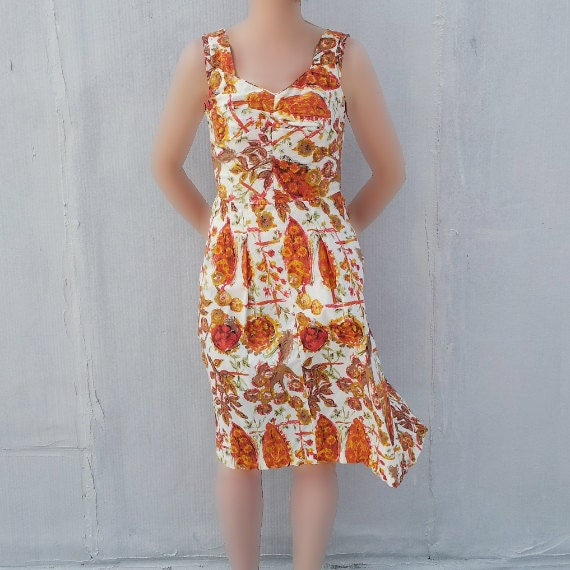 1950s Orange Red Floral Boho Dress 50s Vintage Ato