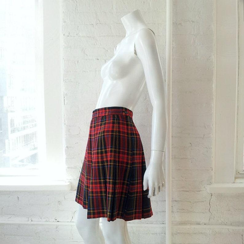b576544c8c2705 Red Plaid Skirt 90s Vintage Small Medium Full Pleated Skirt | Etsy