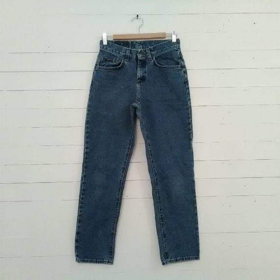 ec5159e2 Lee High Waisted Jeans 80s Vintage 27.5 Waist Mom Jeans Denim   Etsy