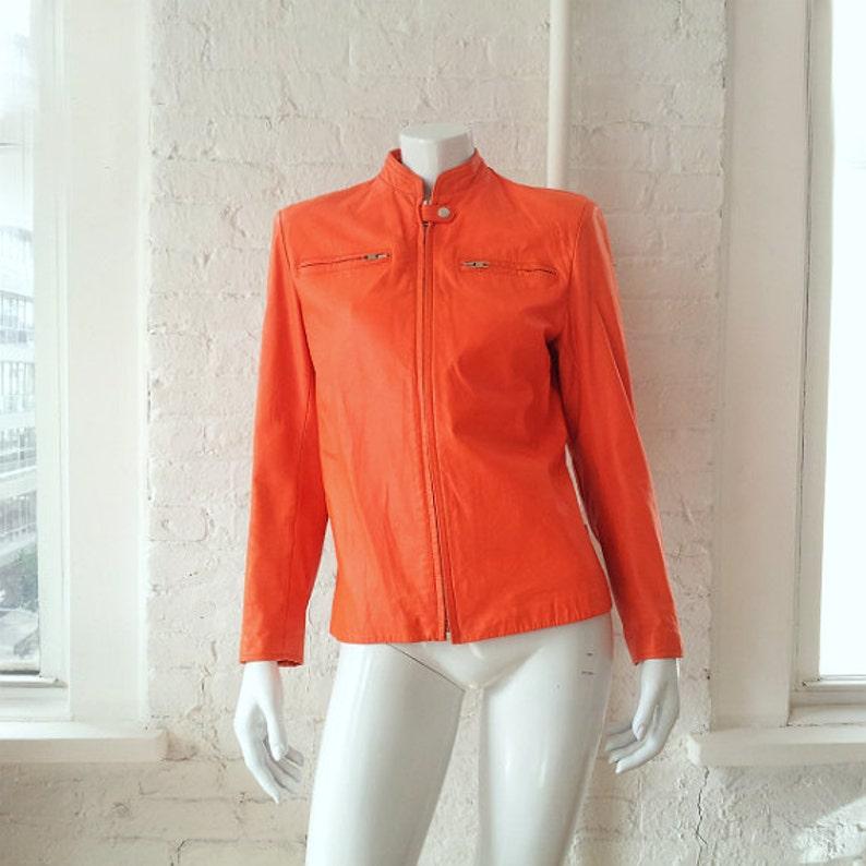 d59ccb33ade Orange Motorcycle Jacket Vintage Stephen Sprouse Leather Biker