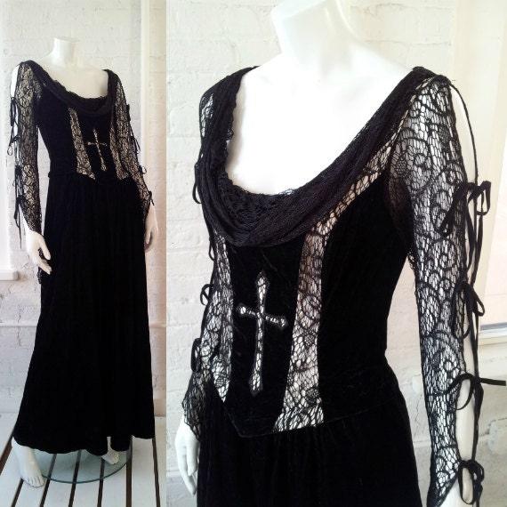 Black Lace Velvet Goth Prom Dress 90s Vintage Lip Service Etsy