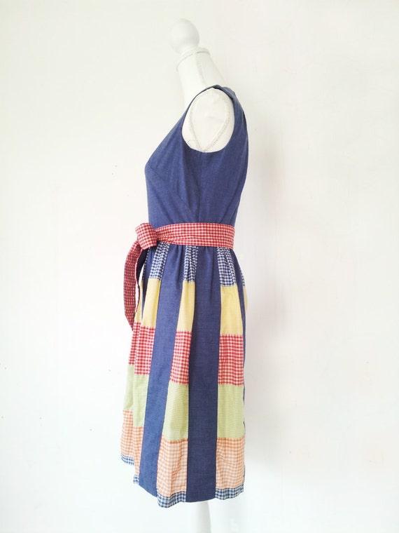 Vintage Patchwork Dress Vintage Gingham Dress 196… - image 2