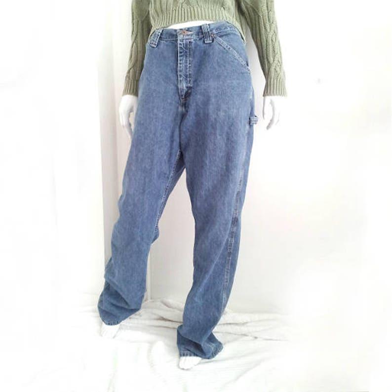 cb8f2c6b High Waisted Wide Leg Jeans 90s Vintage Distressed Denim Work   Etsy