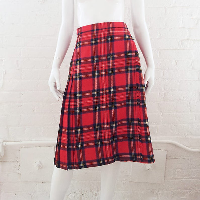 d79e03a076 Red Plaid Wool Skirt Vintage Tartan Kilt Small Pleated Skirt | Etsy