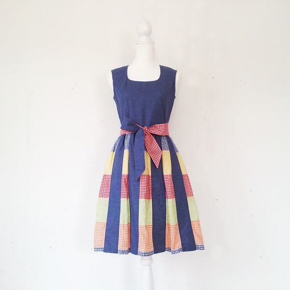 Vintage Patchwork Dress Vintage Gingham Dress 196… - image 1