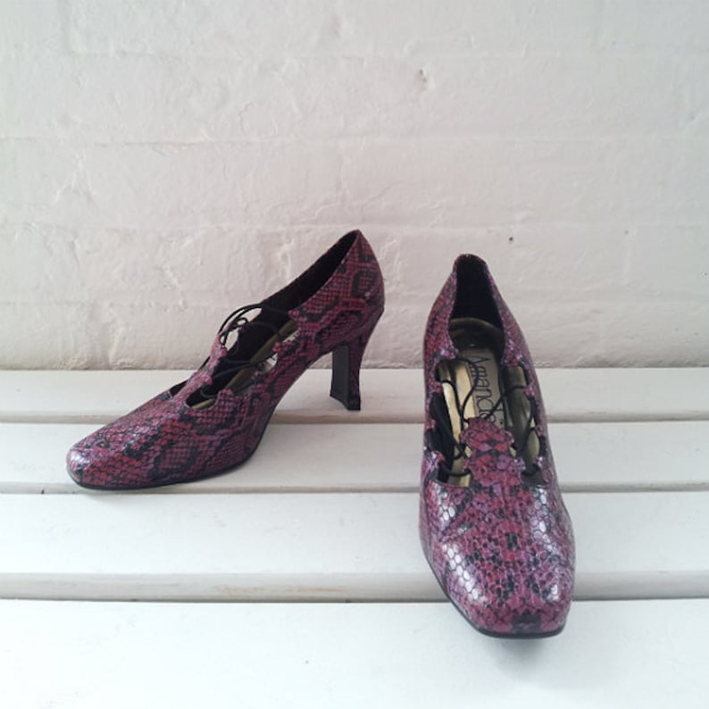 05d7c94fe14 Snake Skin Pumps 7.5 90s Vintage Pink Vegan Black Magenta Fuchsia Faux Fake  Python Square Toe Midi High Heel Corset Lace Up Disco Club Shoes