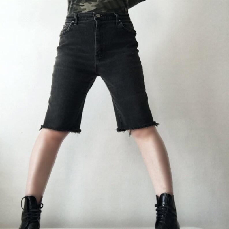 4361f0a718 Denim Bermuda Shorts 90s Vintage Plus Size Lee Black Jean