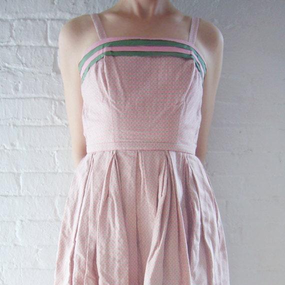 1950s Pink Green Sundress 50s Vintage Pat Premo Ga
