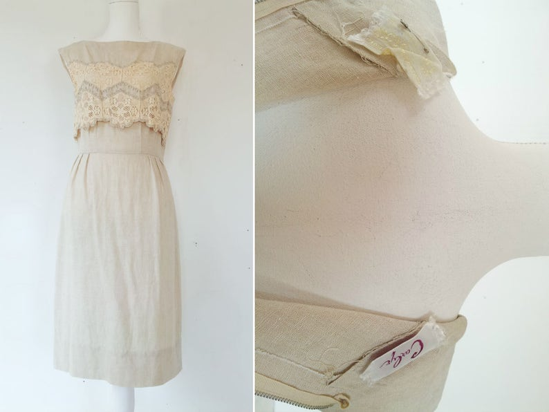 dba6b2a955 Beige Linen Sheath Dress 60s Vintage Shift Dress Small Medium