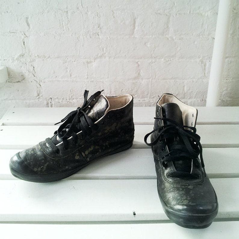 b0ab0c9db861 Comme Des Garcons Black Camo Sneakers 9 7 Vintage Leather High