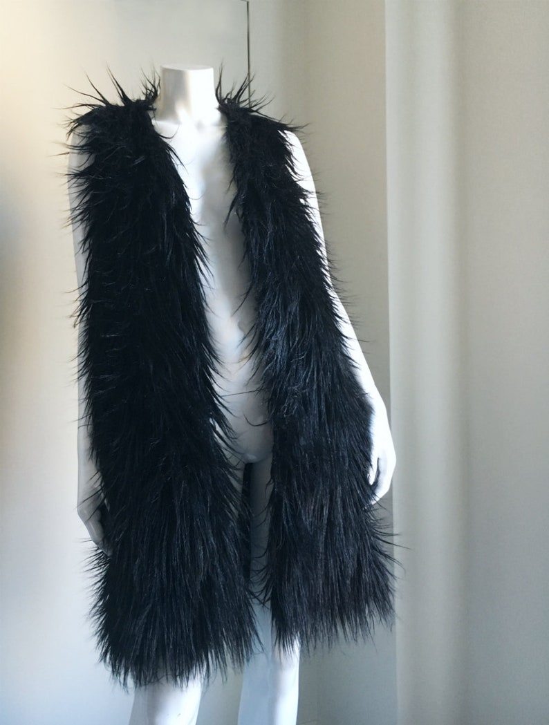 028837c5314 Black Fur Vest 90s Vintage Long Faux Fur Vest Goth Black Fur Dress  Minimalist Mod Club Kid Glam Rock Burningman Playa Boho Vegan Fur Vest