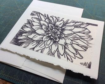 Dahlia- Hand Printed Blank Card