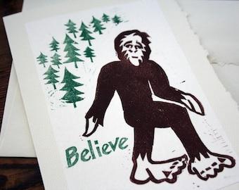 Bigfoot Hand Printed Blank Card