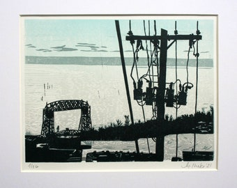 Aerial Lift Bridge with Powerlines, Duluth, MN- Hand Printed
