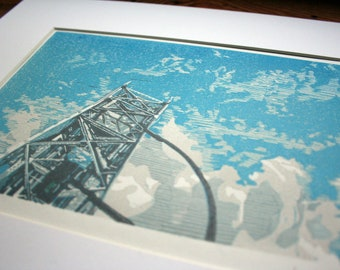 Aerial Lift Bridge Under Blue skies and Puffy Clouds, Duluth, MN- Hand Printed