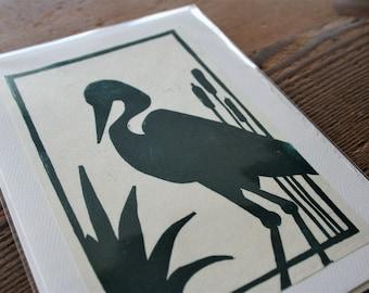 Great Blue Heron Hand Printed Blank Card