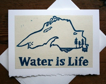 Water is Life-  Hand Printed Blank Card