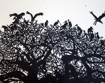 Navy Blue Birds in a Tree