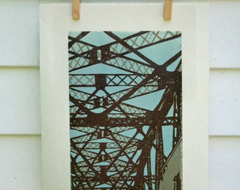 Crossing a Bridge  -Hand Pulled, Limited Edition