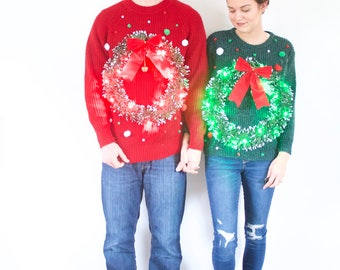 Matching ugly Light up Christmas sweaters // tacky Christmas sweaters // couples wreath Christmas sweater // set pair of vintage sweaters