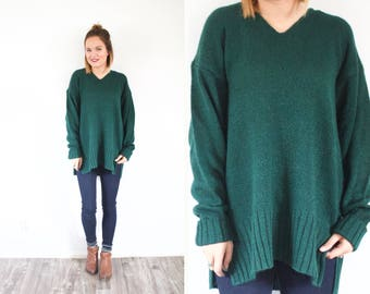 Dark green sweater // winter oversized sweater // dark green vintage jumper sweater // large sweater // ribbed sweater dress // long sweater