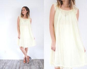 f71c9174e92 Vintage yellow pastel night gown dress    mini yellow dress    light yellow  nightgown    summer nightgown    boho dress    sheer dress