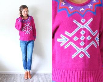 vintage pink ugly christmas sweater snowflake sweater bright pink sweater aztec navajo christmas jumper snowflake print - Pink Ugly Christmas Sweater