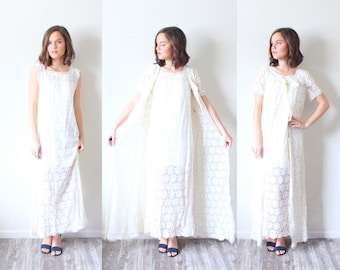 e0df02a9b901 Vintage white lace night gown dress // lace nighty // daisy floral nightgown  // two piece set // boho elegant dress modest // short sleeve