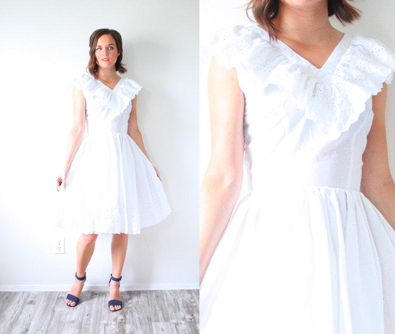 8139805265bd Vintage 1950's eyelet white dress // short wedding dress | Etsy