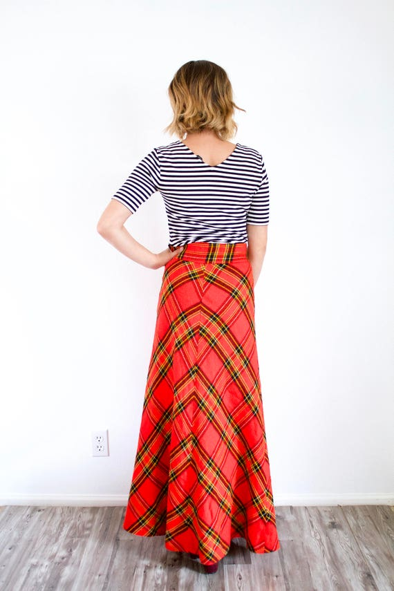 Vintage red classic maxi plaid skirt // Christmas… - image 8