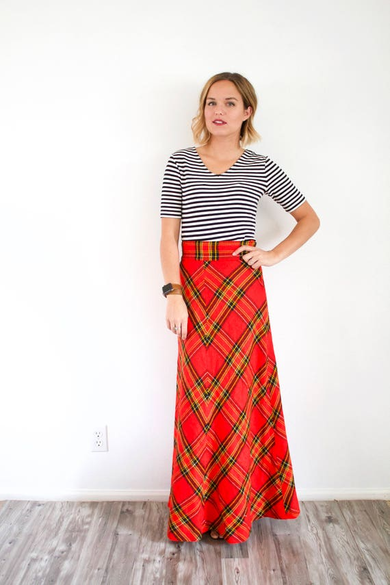 Vintage red classic maxi plaid skirt // Christmas… - image 3