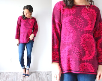 Vintage oversized paisley sweater // bright pink boho sweater // spring winter sweater // paisley print // navajo bright pink sweater
