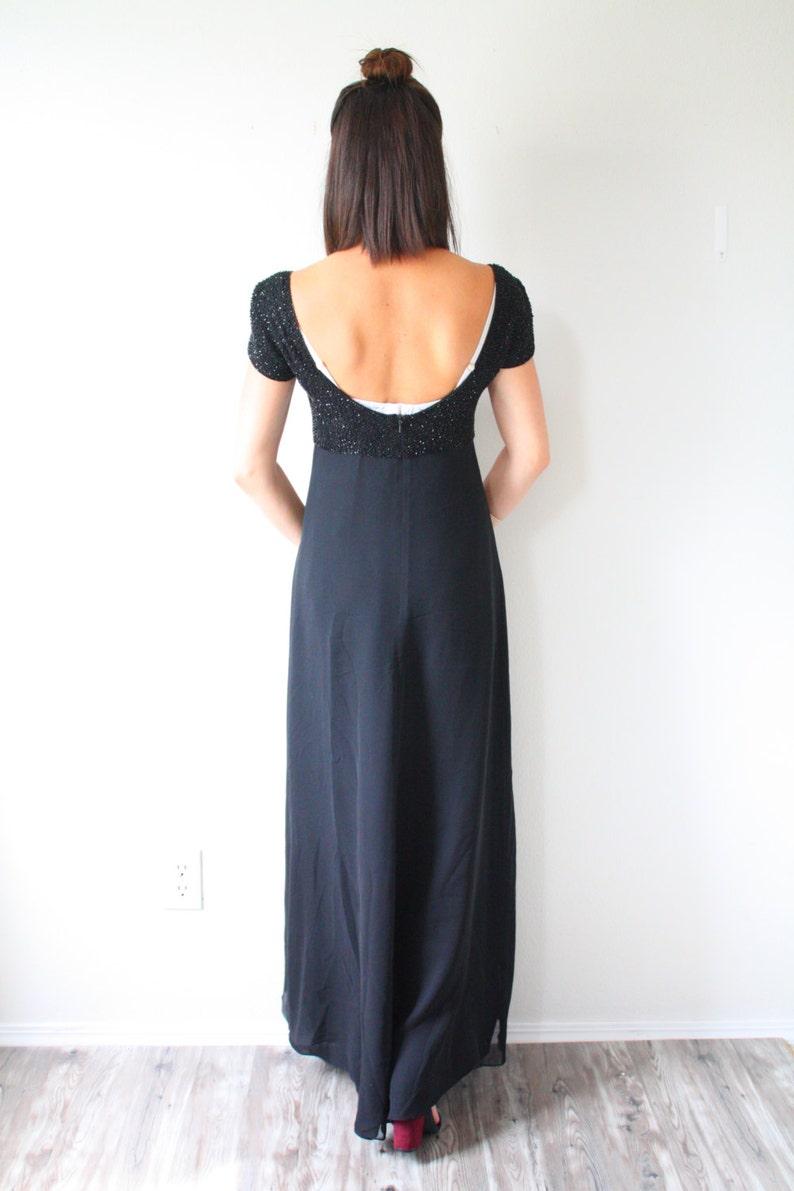 Vintage modest formal black dress  short sleeve homecoming prom dress  little black glitter dress  modest black beaded cap sleeve dress