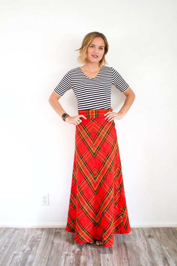 Vintage red classic maxi plaid skirt // Christmas… - image 6