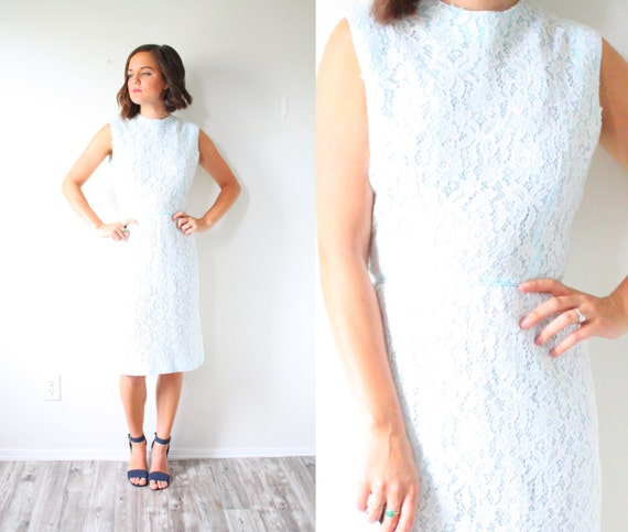 Vintage wedding dress // light blue colored lace w