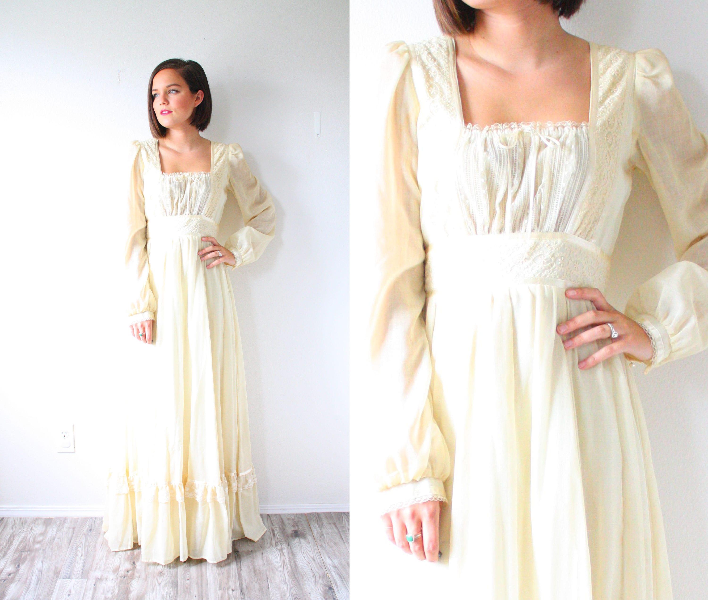3e071fd65515c Long Sleeve Cream Lace Maxi Dress - PostParc