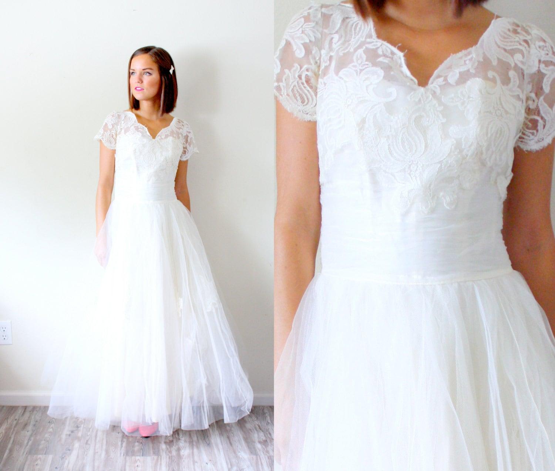 Vintage Tea Length Lace Wedding Dress Tulle Lace Modest Etsy