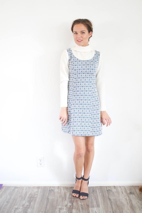100% top quality various design no sale tax Vintage Mod blue long sleeve dress // modest dress // 60's dress // mod  heart print dress 50's 60's // Small high neck turtle neck dress