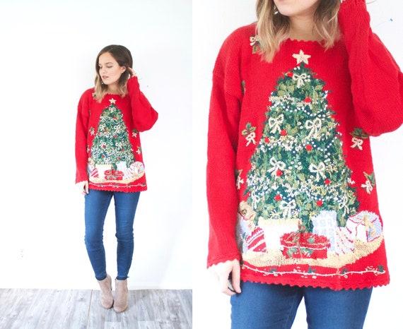 Vintage Tacky Christmas tree sweater // Ugly chris