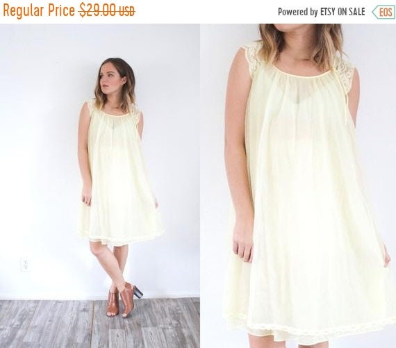 54c7a6cdca 50% OFF VALENTINES SALE Vintage yellow pastel night gown dress