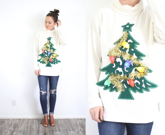 Tacky Christmas sweater // LIGHT UP Christmas tree