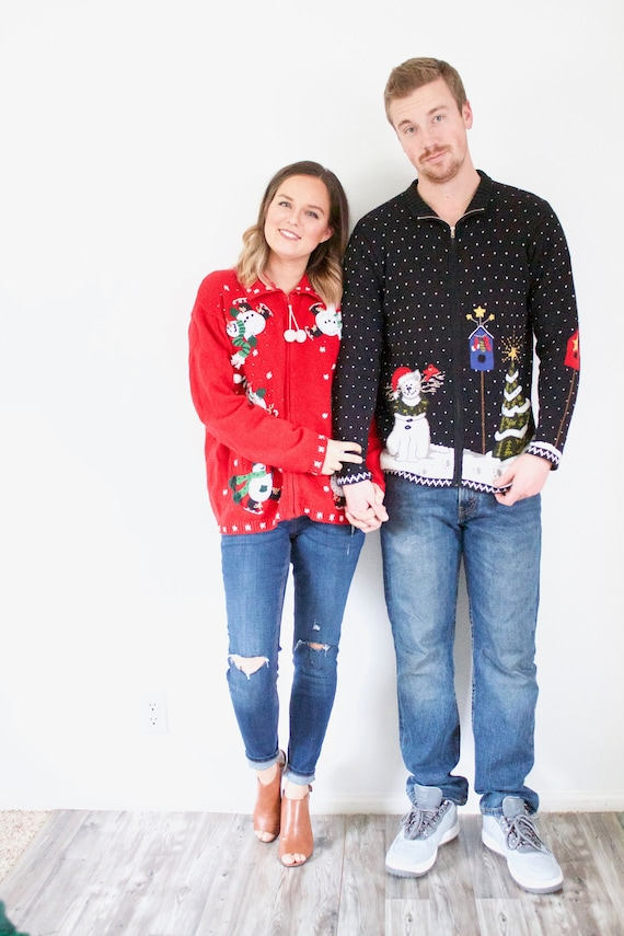 Matching ugly Christmas sweaters // tacky Christma