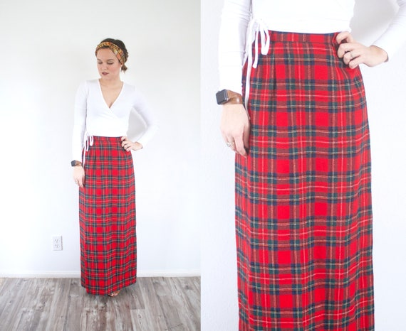 Vintage red plaid maxi skirt // 1950's christmas s