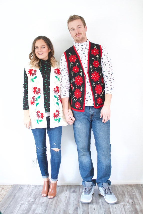 Matching ugly Christmas sweater vests // tacky cou