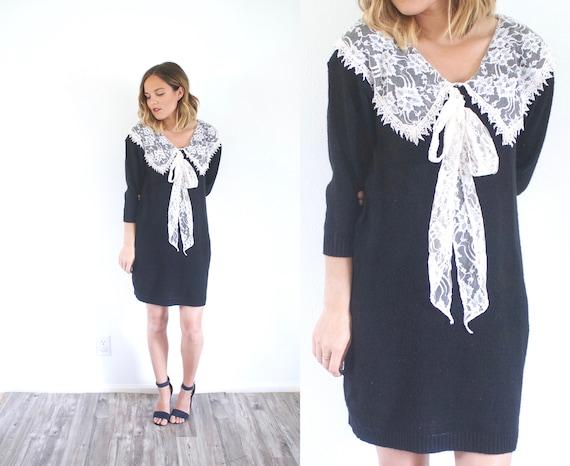 Boho Black Sweater Dress Long Sleeve Modest Dress Lace Etsy