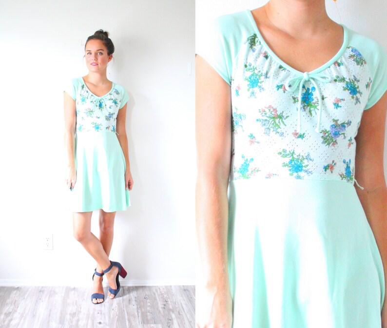 e0635ed3f4d2 Vintage sea foam mint blue green 1960's mini floral dress | Etsy